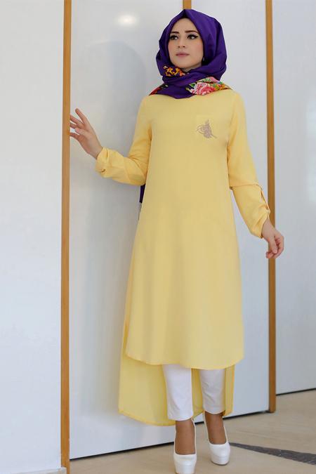 Lef ` Zen Sarı Tuğra Tunik