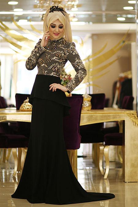 Minel Aşk Gold Burcu Abiye Elbise