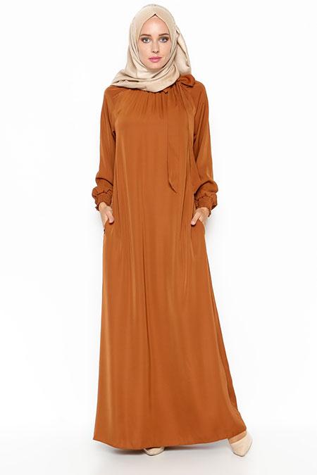 ModaNaz Hardal Büzgülü Elbise