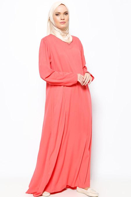 Modanaz Nar Çiçeği Düğmeli Elbise