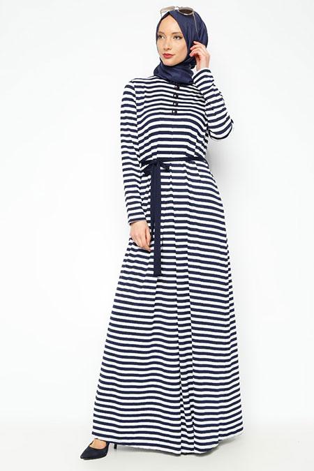 Moonlight Lacivert Çizgili Elbise