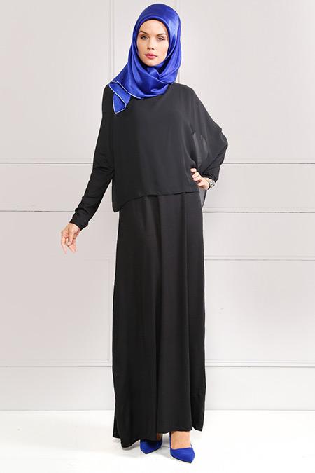 Refka Siyah Şifon Parçalı Elbise