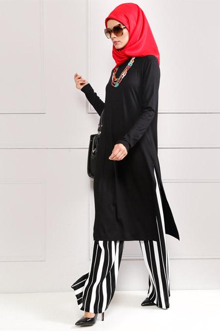 Refka Siyah Tunik & Pantolon İkili Takım