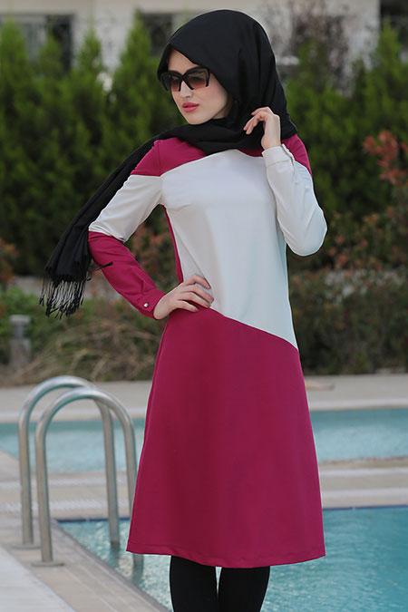 Selma Sarı Design Fuşya & Beyaz Garnili Tunik