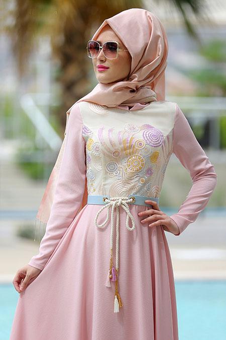 Selma Sarı Design Pudra Alya Elbise