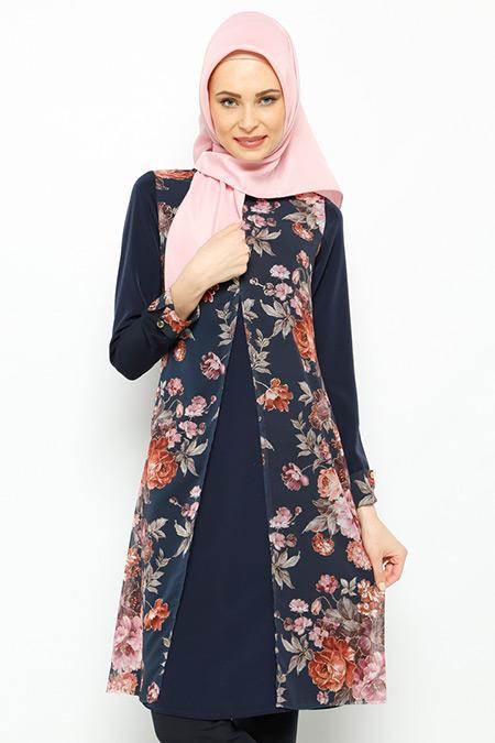 Sevilay Giyim Lacivert Çiçekli Tunik