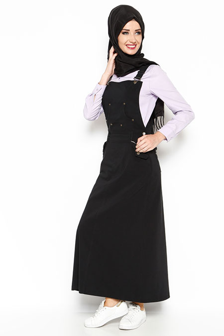 Veteks Line Siyah Salopet Elbise