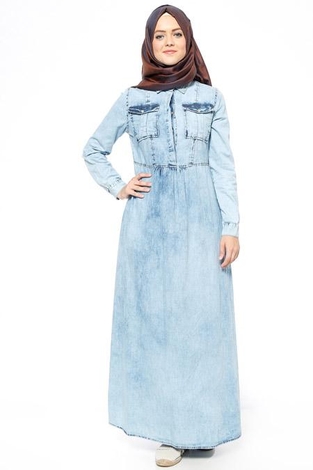 Allday Buz Mavi Kot Elbise