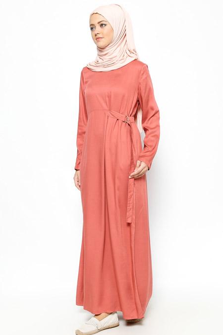 Allday Kiremit Beli Detaylı Elbise