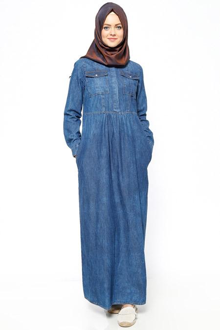 Allday Koyu Mavi Kot Elbise