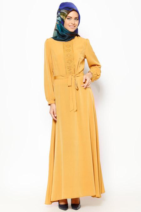 Bataş Hardal Güpür Detaylı Elbise