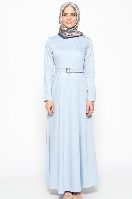 Beha Tesettür Buz Mavi Kemerli Elbise