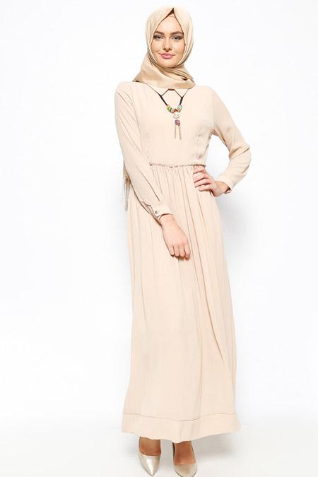 Bislife Bej Kolyeli Elbise