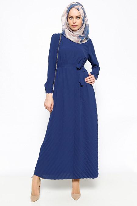 DRL Açık Lacivert Pliseli Elbise
