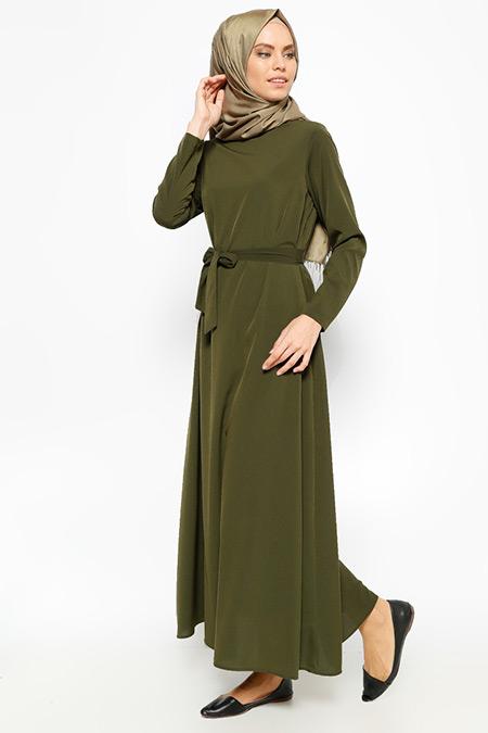 Dadali Haki Kemerli Elbise
