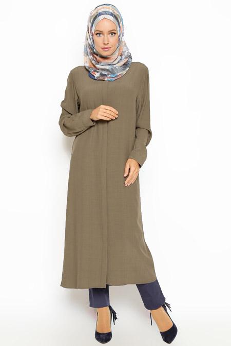 Eva Fashion Haki Gizli Düğmeli Tunik