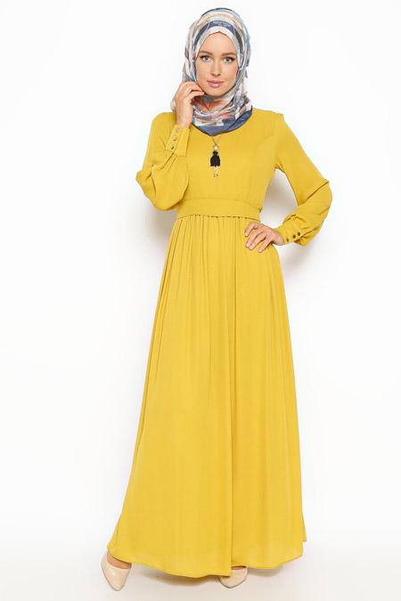 Eva Fashion Hardal Kolyeli Elbise