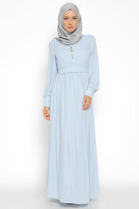 Eva Fashion Mavi Kolyeli Elbise