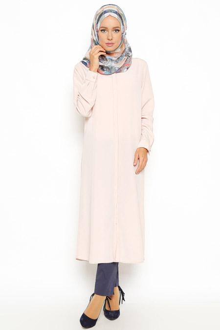 Eva Fashion Pudra Gizli Düğmeli Tunik