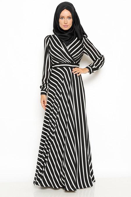 Eva Fashion Siyah Çizgili Elbise