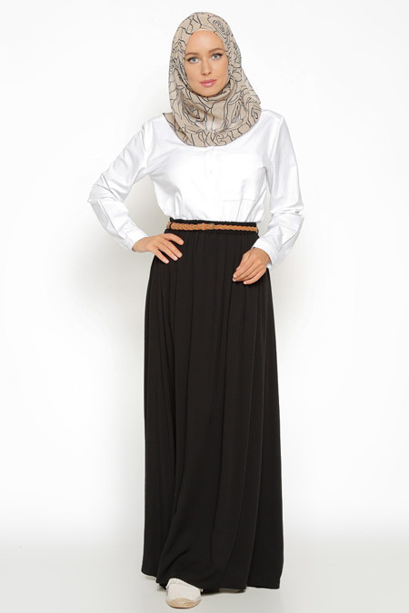 Eva Fashion Siyah Kloş Etek