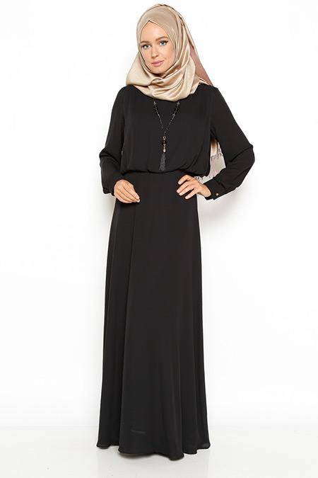 Eva Fashion Siyah Kolyeli Elbise