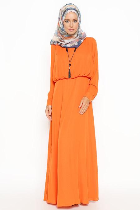 Eva Fashion Turuncu Kolyeli Elbise