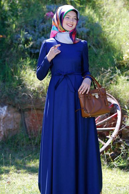 Kübra Biriktir Lacivert Adile Elbise