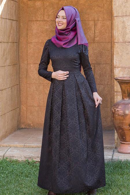 Kübra Biriktir Siyah Alya Brokar Elbise