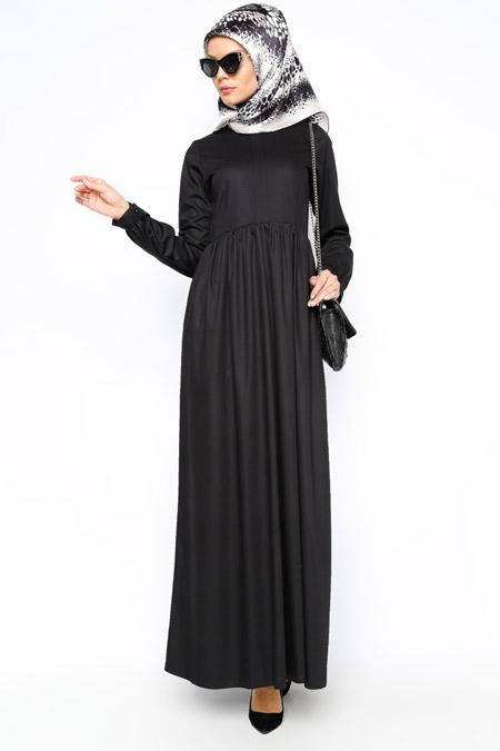 Kübra Biriktir Siyah Eloise Elbise