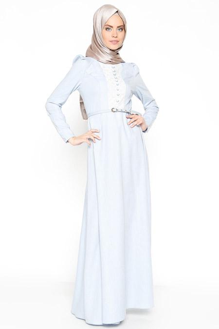 LOREEN Mavi Dantel Detaylı Elbise