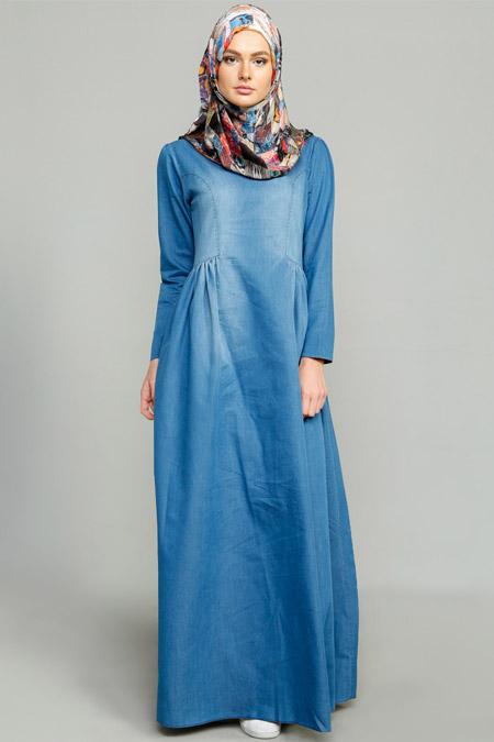 MİSS VAQA Açık Mavi Klara Denim Elbise