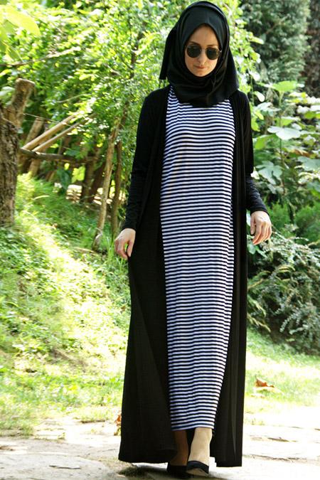 Melek Aydın Siyah Beyaz Elbise & Hırka İkili Takım