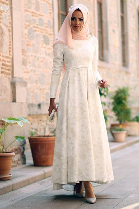 Mevra Ekru Kalya Abiye Elbise