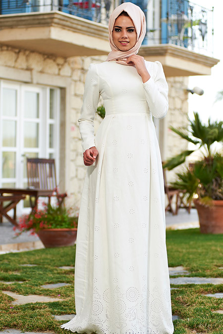 Mevra Ekru Yasmin Yakma Elbise