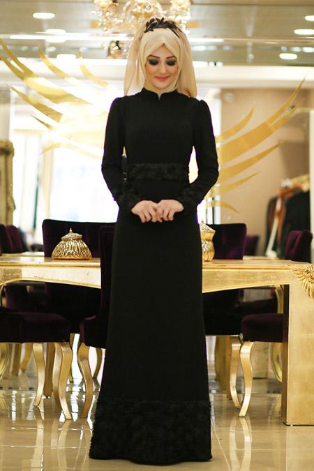 Minel Aşk Siyah Duru Abiye Elbise