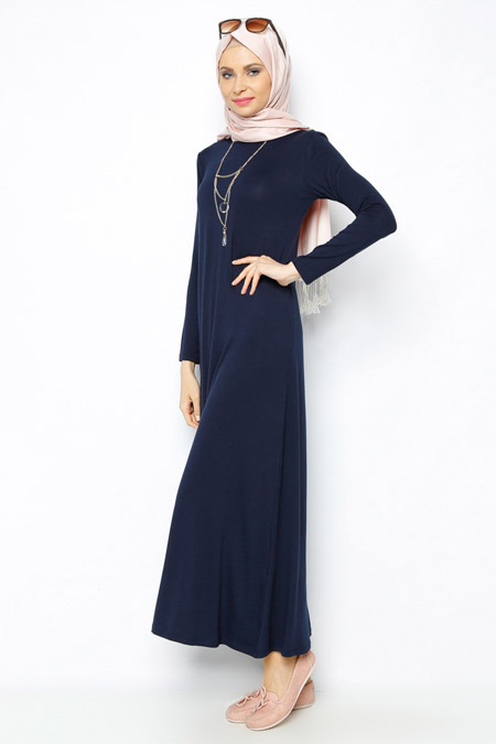 Moonlight Lacivert Kolyeli Elbise