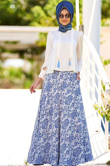 Nilüfer Kamacıoğlu Mavi Etek & Bluz Takım