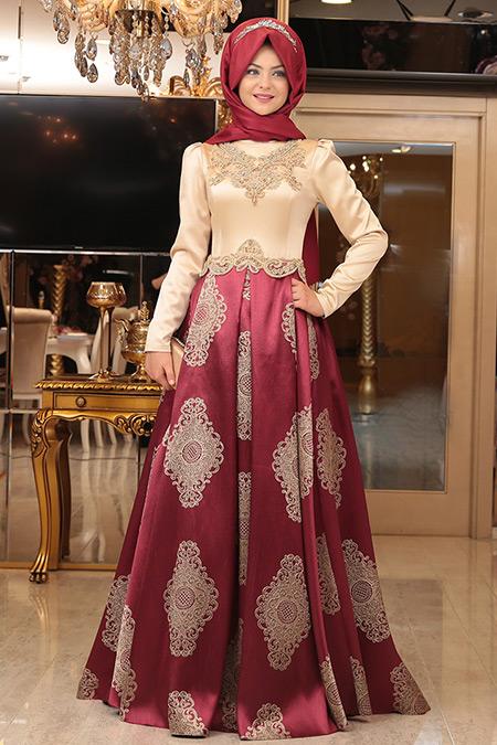 Pınar Şems Bordo Harem Abiye Elbise