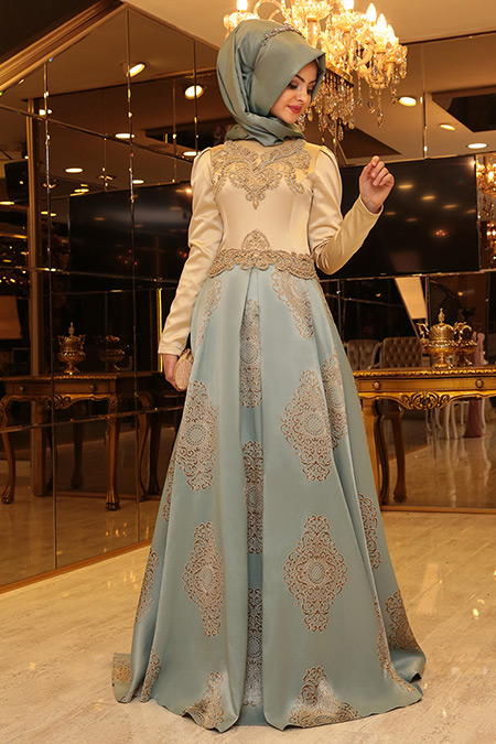 Pınar Şems Mint Harem Abiye Elbise