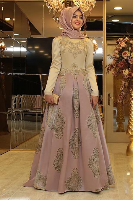 Pınar Şems Pudra Harem Abiye Elbise