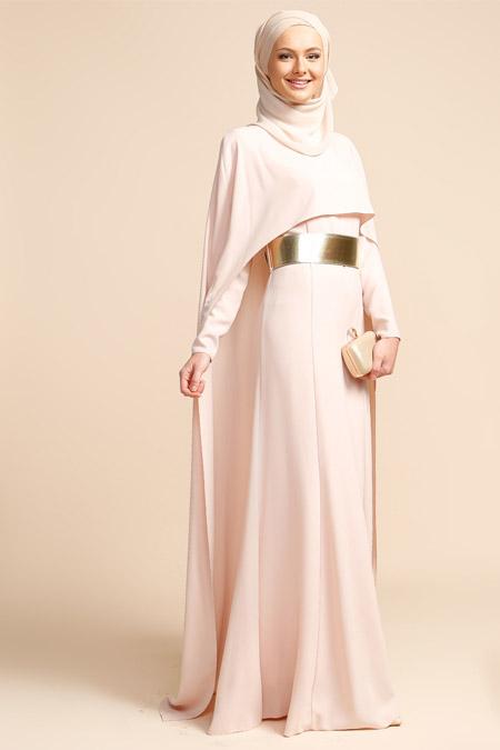 Puane Pudra Pelerinli Elbise