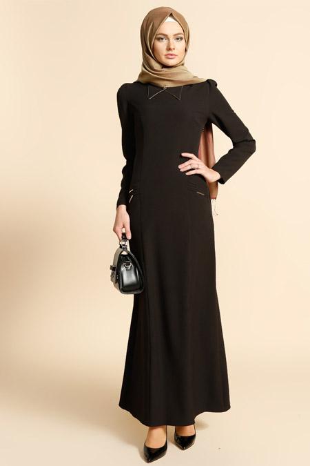 Puane Siyah Cep Detaylı Elbise