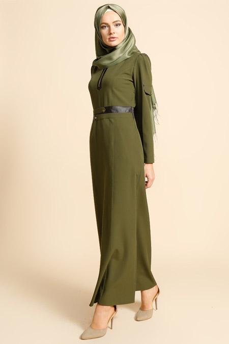 Puane Yeşil Deri Detaylı Elbise
