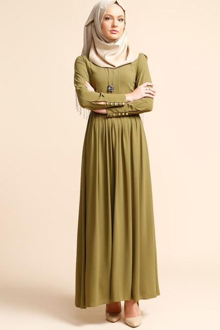 Puane Yeşil Pliseli Elbise