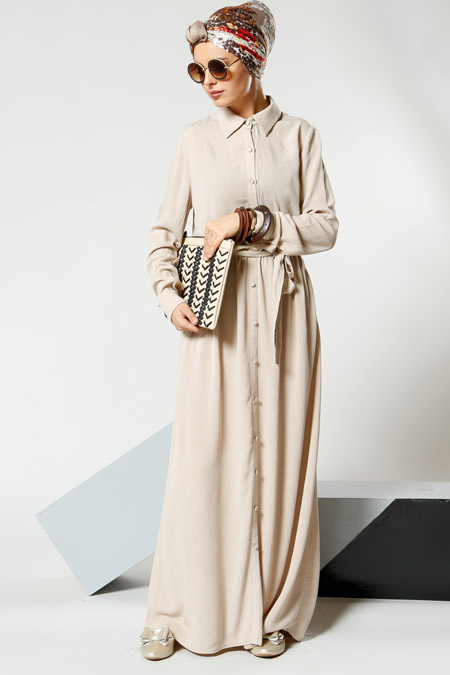 Refka Bej Natural Kumaşlı Düğmeli Elbise