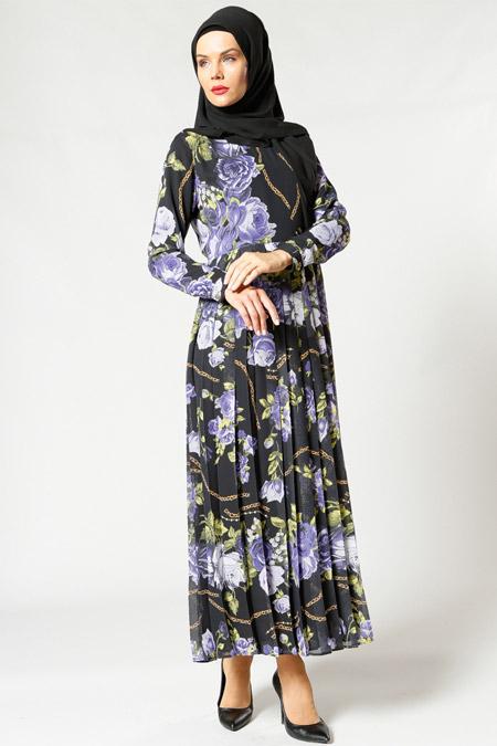 Refka Mor Pliseli Şifon Elbise