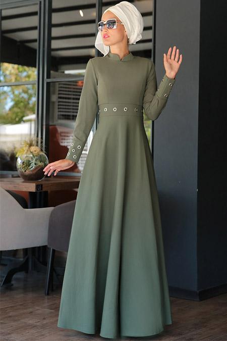 Selma Sarı Design Haki Kuş Gözlü Elbise
