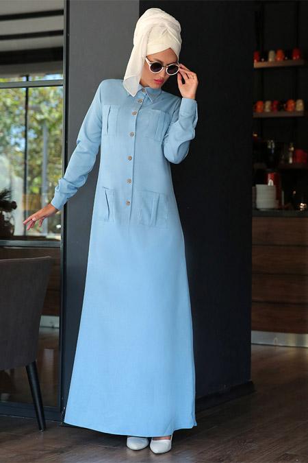 Selma Sarı Design Mavi Düğmeli Spor Elbise