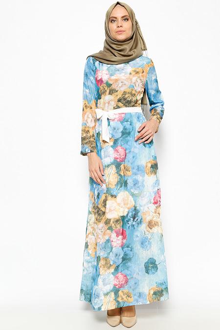 Tuncay Mavi Desenli Elbise